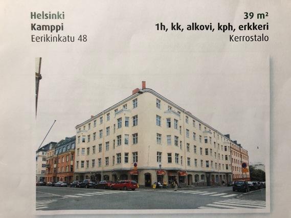 Vuokrataan Kerrostalo Yksio Helsinki Kamppi Eerikinkatu 48 C