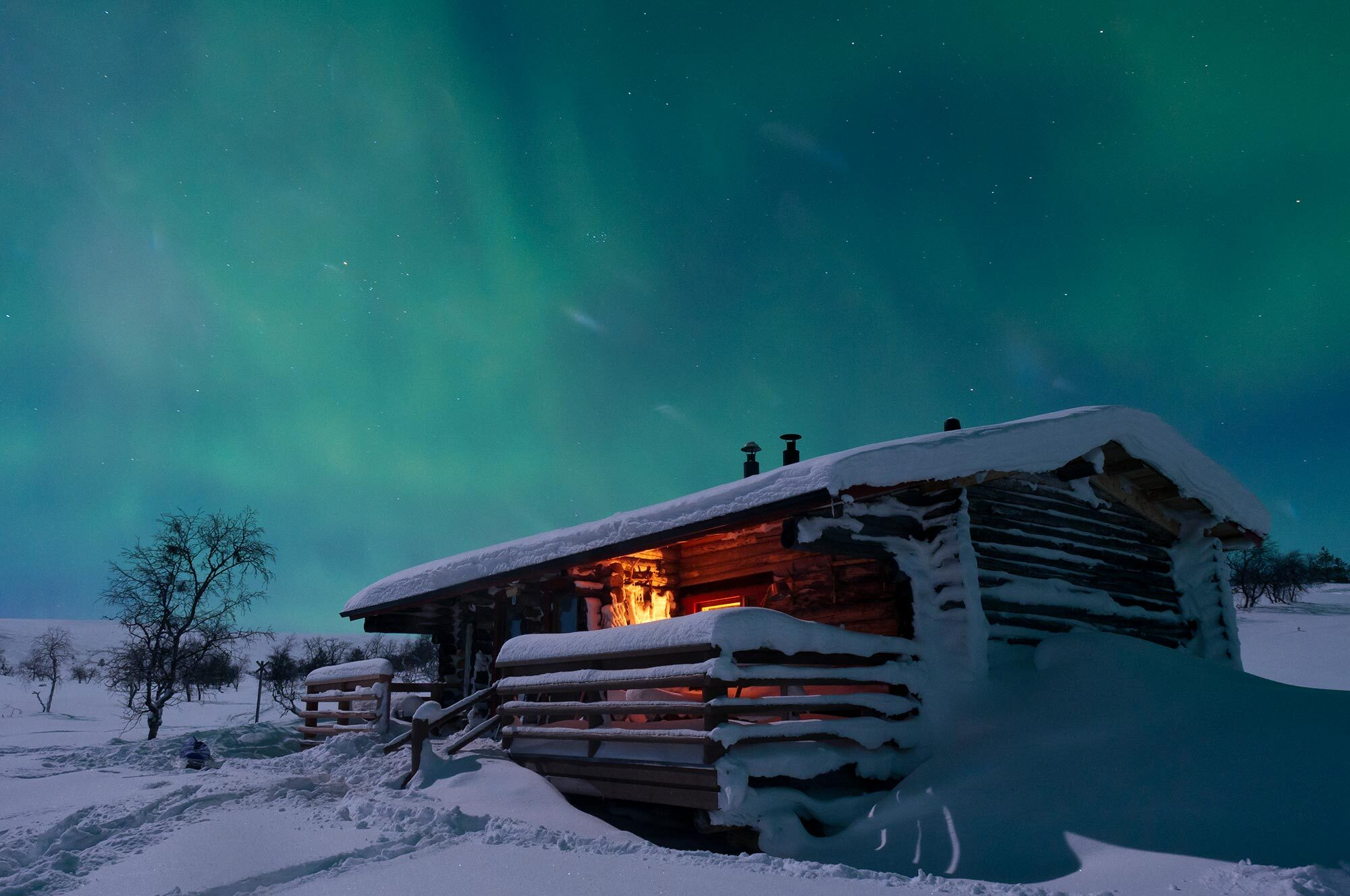 Northern lights over the cottage