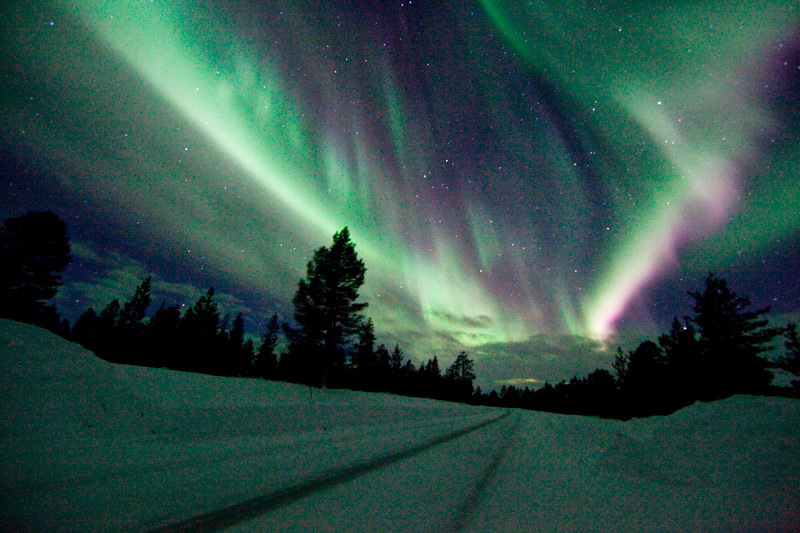 Northern lights in Saariselkä Finland